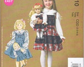 "McCalls 7010 Toddler Girls AND 18"" American Girl Doll Clothes Matching Top Jumper Denim Easy Sewing Patterns Girls Sizes 2-5 New UNCUT"