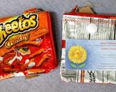 Recycled Snack Wrapper Zipper Pouch with ID Pocket and Key Ring