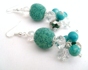 Blue Beaded Earrings, Sea Theme, Crystal Earrings, Turquoise Blue, Chunky Bead Earrings, Dangle Earrings, Octopus Design, Aqua Blue, Jewelry