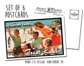 Great Times at the Great Lakes- Family on Beach POSTCARDS