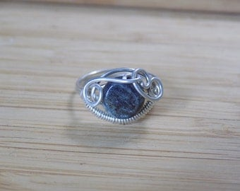 Sterling Silver Kyanite bead Wire Wrapped Ring Size 5 1/2 Wire Wrapped Jewelry Handmade Sterling Silver Wire Wrap Ring USA Free Shipping