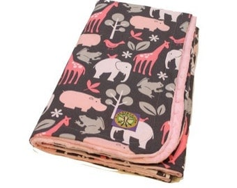 Personalized Pink Zoology on Paris Pink Minky Baby Blanket