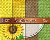 Sunflowers Digital Paper from Acrylic Painting | Summer Floral Digital Download | Scrapbooking Paper | Orange Yellow Green | Paper Crafts