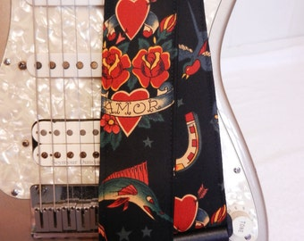 Flash tattoo Jerry inspired hipster guitar strap