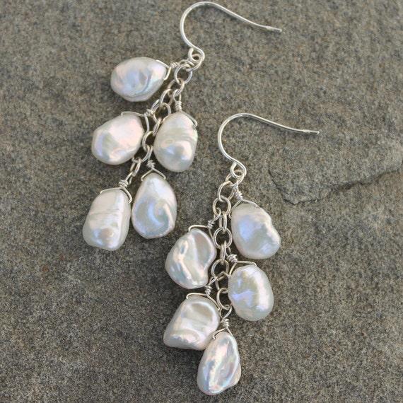 Keshi Pearl Cluster Earrings, White Pearl Earrings, Petal Pearl Earrings  - WHITE PETALS