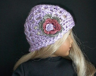 "18 Inch Doll Clothes - Crocheted Lavender Beanie Hat with Tri-color Irish Rose Flower Handmade to Fit the American Girl and Other 18"" Dolls"
