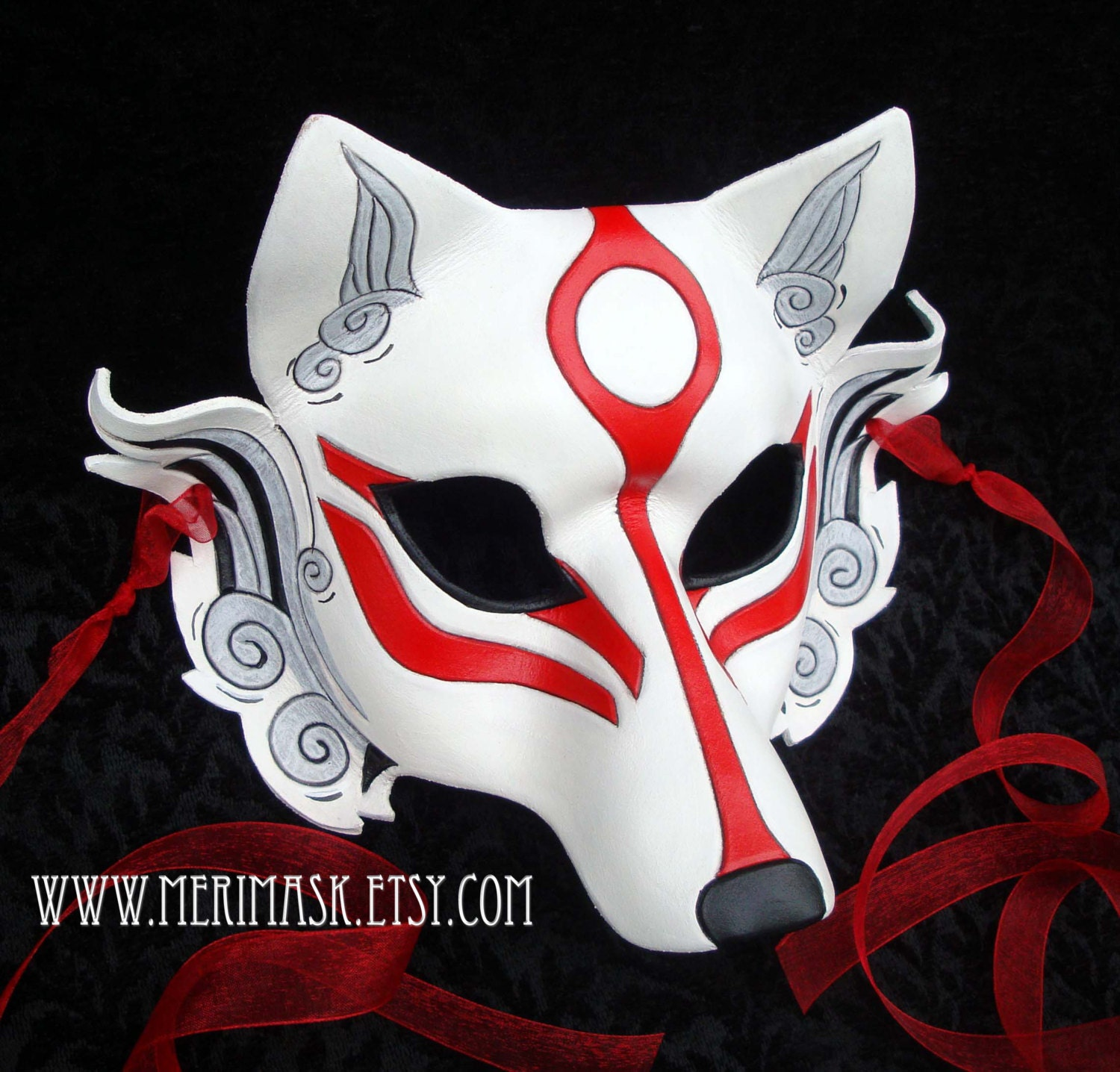 MADE TO ORDER Okami Wolf Mask... masquerade Japanese leather