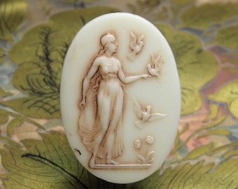 Vintage Glass Cabochon Goddess in Relief Supply
