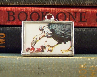 Vulture Pendant - Vintage Dictionary Pendant - Soldered Glass Charm - Vulture Charm - Book Jewelry - Paper Ephemera  - Vulture Necklace