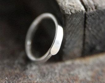 7mm 22g Cartilage Hoops Earrings - 7mm Hammered Hoops in 22 gauge Sterling Silver