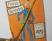 Happy Birthday Vintage Humor Card Collage Handmade Hand stamped Over the Hill Blank inside