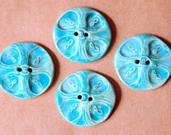 4 Handmade Buttons - Large Celtic Cross Buttons in Stoneware and Aqua glaze