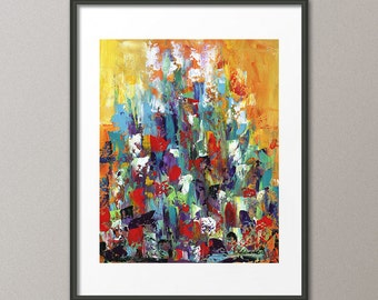 Gallery Canvas and Fine Art Prints Colorful  Abstract Cityscape Conceptual Art Modern Contemporary Elena
