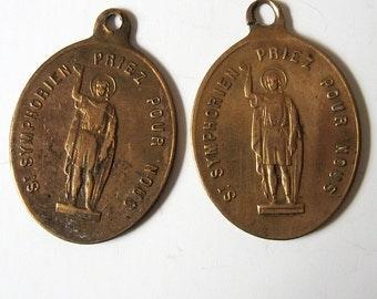 2 Antique French Saint Symphorien Large 1800s Religious Medal Pendant Charm