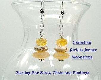 Dangle Earrings  Stack Stone Earrings  Mixed Moonstone Earrings Chakra Earrings  E-0907-15