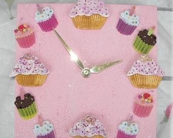 Pink Clock Cupcake Ceramic Clock  Larger Size  Nursery Decor Bakery Clock  Cupcake home Decor  Kitchen