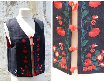 Vintage 1970/70s German / Austrian/TyrolFolk vest Bolero top size S/M