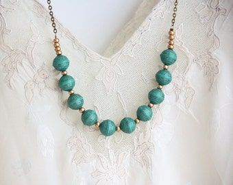 Turquoise Beaded Necklace, Strand Necklace, Statement Necklace, Beaded Necklace, Vintage Beads, Brass, Long Necklace, Turquoise and Gold