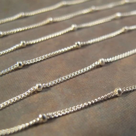 Silver Chain with Beads, Sterling Silver Satellite Chain ...