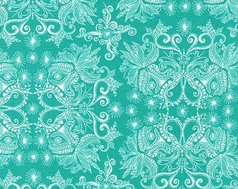 In The Bloom Damask in Turquoise from Valorie Wells, yard