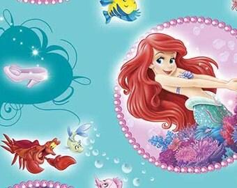 Disney The Little Mermaid, Ariel Badge on Blue, LAST 1/2 yard