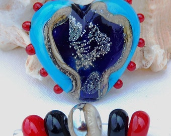 Focal *Dark Turquoise Heart* & 5 Accent Beads Turquoise Cobalt Blue Lipstick Red Handmade Lampwork Beads Glass Beads by Beadfairy Lampwork