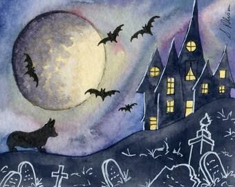 Pembroke Welsh Corgi dog 10x8 inches art print by Susan Alison Halloween house he regretted taking the dare moonlit night bats graveyard