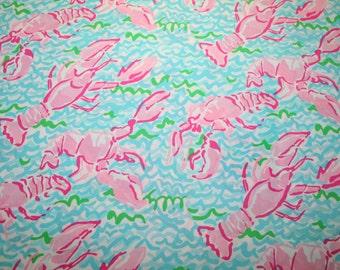 "Lilly Pulitzer fabric ""LOBSTAH ROLL""  100%  cotton/poplin ~6"" by 6"""