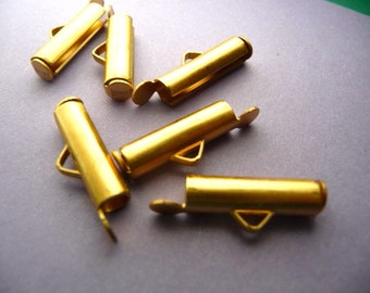 "4 End Cap Clasps for Ball Chain Bib Brass 17mm 5/8"""