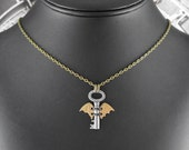 Steampunk Bat Golden Winged Key Necklace - Nocturnal Flight of the Tiny Time Key by COGnitive Creations