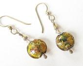 Handmade Lampwork Glass Earrings metallic gold teal sterling
