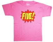 Kids SUPERHERO Fifth Birthday T-shirt - Hot Pink