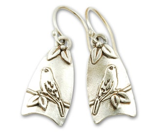 Canary Earrings - Sterling Silver Bird Earrings
