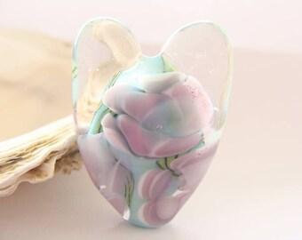 Turquoise Heart Handmade Lampwork Focal