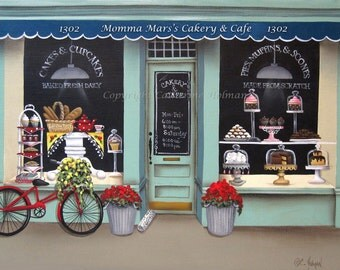 Folk Art Print Personalized Cakery an Cafe Shop