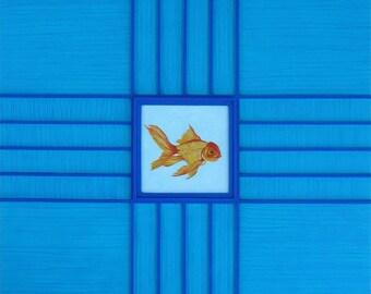Goldish-Original Mixed Media Painting 15 3/4 x 15 3/4 inches