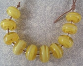 Two tone yellow swirls - Lampwork Beads