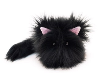 Stuffed Cat Stuffed Animal Cute Plush Toy Cat Kawaii Plushie Poe the Black Kitty Cat Faux Fur Toy Stocking Stuffer Small 4x5 Inches