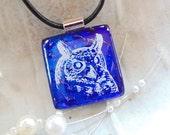 Dichroic Glass Pendant, Necklace, Fused Glass, Owl, Cobalt Blue, A2