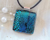 Dichroic Glass Pendant, Necklace, Glass Jewelry, Necklace Included, Blue, Green, One of a Kind