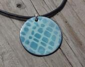 Handmade Copper Enamel Cobblestone Necklace, Enamel on Copper, Cobblestones Grid, Necklace, Blue on Blue, Robins Egg Blue, Dusty Blue