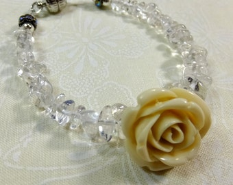 White Resin Rose, Small Quartz Chips Small Bracelet 6.5 in with Magnetic Clasp Inspired by symbols in the TV Show Beauty and the Beast