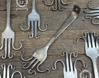 Fork Earring Display - Made From Antique Sterling Silver Plated Twisted Forks - Make Your Own Recycled Jewelry Display Rack