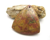 Triangular Jasper Stone Pendant Cabochon Focal Statement Piece Organic Earthy Rust Brown, Coffee and Tan with Striations and Layers