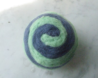 One multi-colored felted pin-cushion, Mint Green and Blue