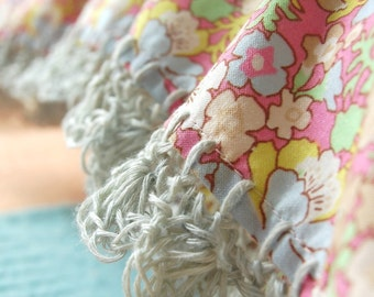 Liberty & Linen pillowcase with crochet trim  -  Hint of Summer