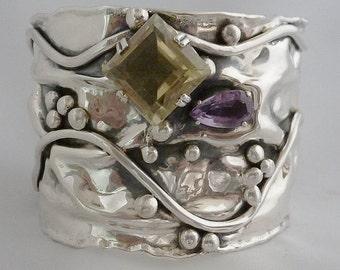 Lemon citrine and amethyst in sterling silver cuff bracelet