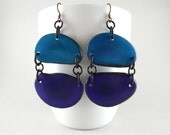 Cerulean Blue and Imperial Purple Tagua Nut Eco Friendly Earrings with Free USA Shipping