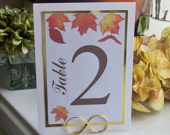 Autumn of Fall Leaf Table Number Signs - Leaves - Gold Foil - Numbers (set of 10)