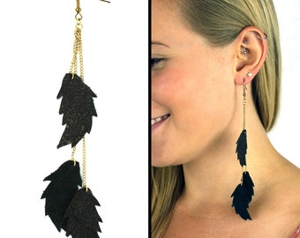 Cascading Leather Feather Earrings black & gold leather